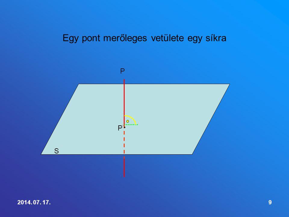 9 Egy pont merőleges vetülete egy síkra P P'P' S