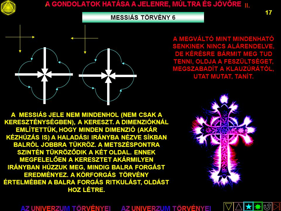 II. 17 MESSIÁS TÖRVÉNY 6 A MESSIÁS JELE NEM MINDENHOL (NEM CSAK A KERESZTÉNYSÉGBEN), A KERESZT. A DIMENZIÓKNÁL EMLÍTETTÜK, HOGY MINDEN DIMENZIÓ (AKÁR