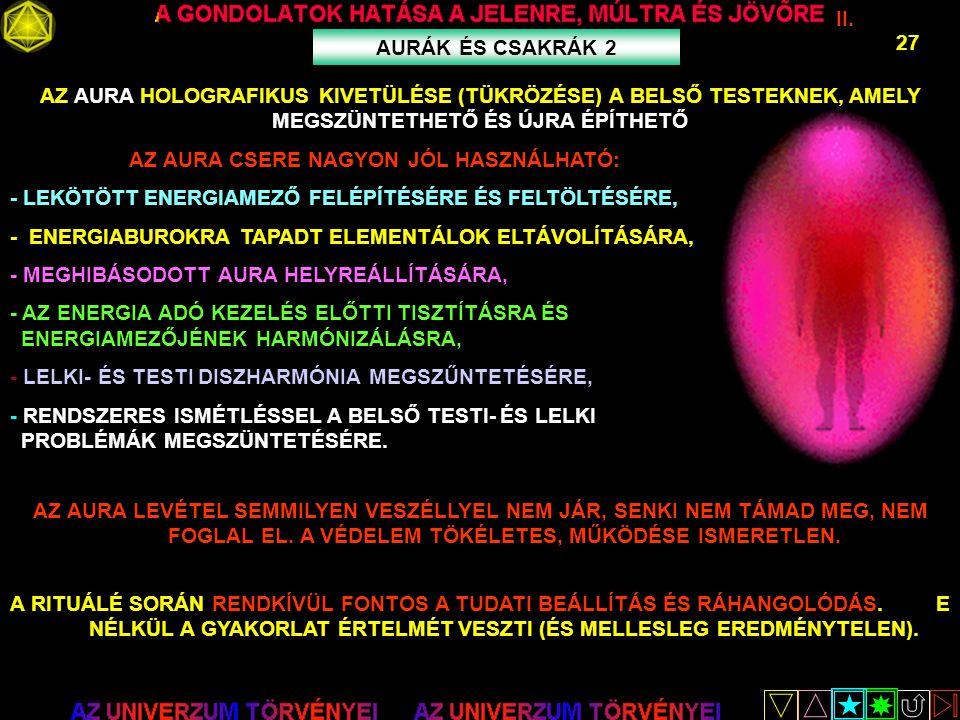 II. 27 AURÁK ÉS CSAKRÁK 2 AZ AURA HOLOGRAFIKUS KIVETÜLÉSE (TÜKRÖZÉSE) A BELSŐ TESTEKNEK, AMELY MEGSZÜNTETHETŐ ÉS ÚJRA ÉPÍTHETŐ AZ AURA CSERE NAGYON JÓ