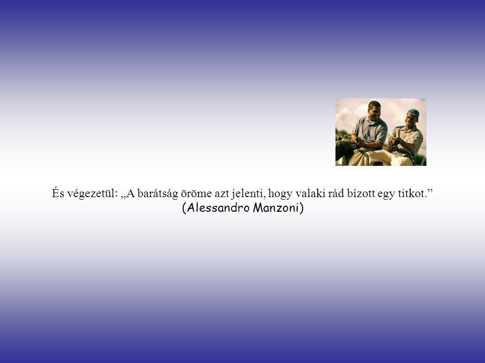 """És végezetül : """"A barátság öröme azt jelenti, hogy valaki rád bízott egy titkot. (Alessandro Manzoni)"""