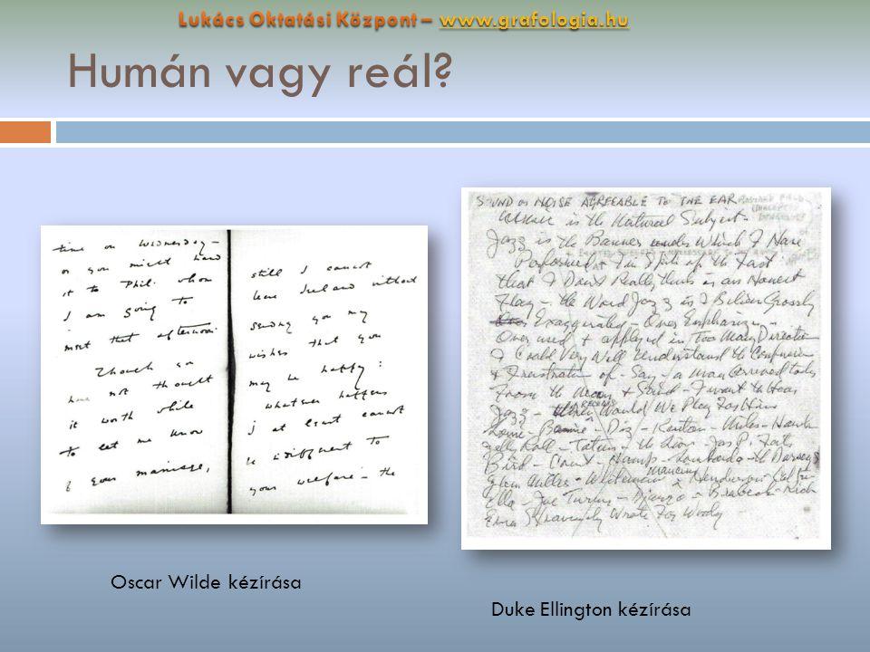 Humán vagy reál? Oscar Wilde kézírása Duke Ellington kézírása