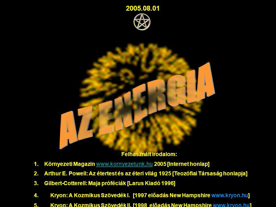 Felhasznált irodalom: 1.Környezeti Magazin www.kornyezetunk.hu 2005 [Internet honlap]www.kornyezetunk.hu 2.Arthur E. Powell: Az étertest és az éteri v