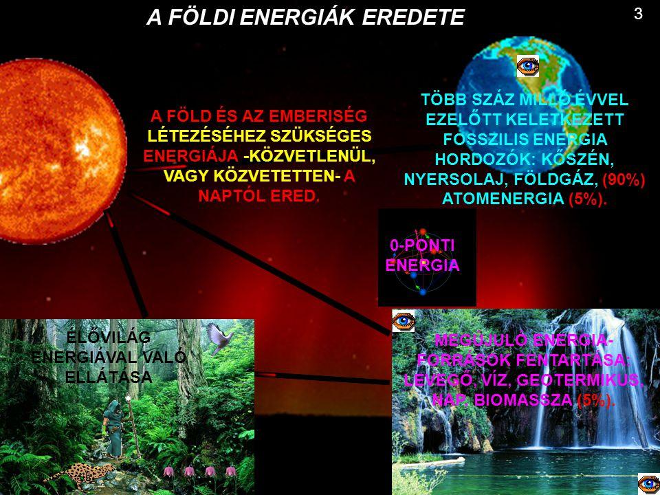 3 A FÖLDI ENERGIÁK EREDETE ÉLŐVILÁG ENERGIÁVAL VALÓ ELLÁTÁSA MEGÚJULÓ ENERGIA- FORRÁSOK FENTARTÁSA: LEVEGŐ, VÍZ, GEOTERMIKUS, NAP, BIOMASSZA (5%). 0-P