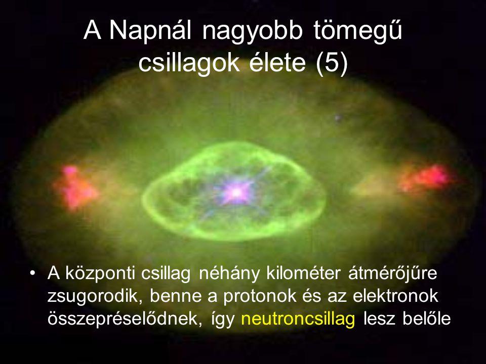 A Napnál nagyobb tömegű csillagok élete (5) A központi csillag néhány kilométer átmérőjűre zsugorodik, benne a protonok és az elektronok összepréselődnek, így neutroncsillag lesz belőle