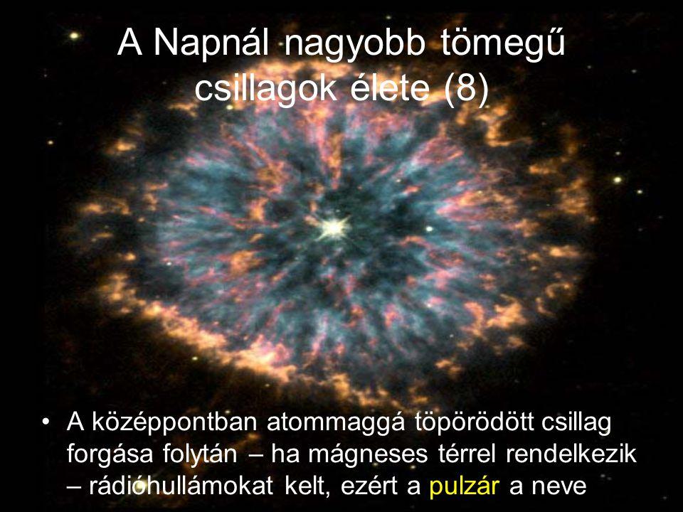 A Napnál nagyobb tömegű csillagok élete (8) A középpontban atommaggá töpörödött csillag forgása folytán – ha mágneses térrel rendelkezik – rádióhullámokat kelt, ezért a pulzár a neve