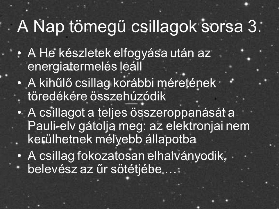 A Nap tömegű csillagok sorsa 3.