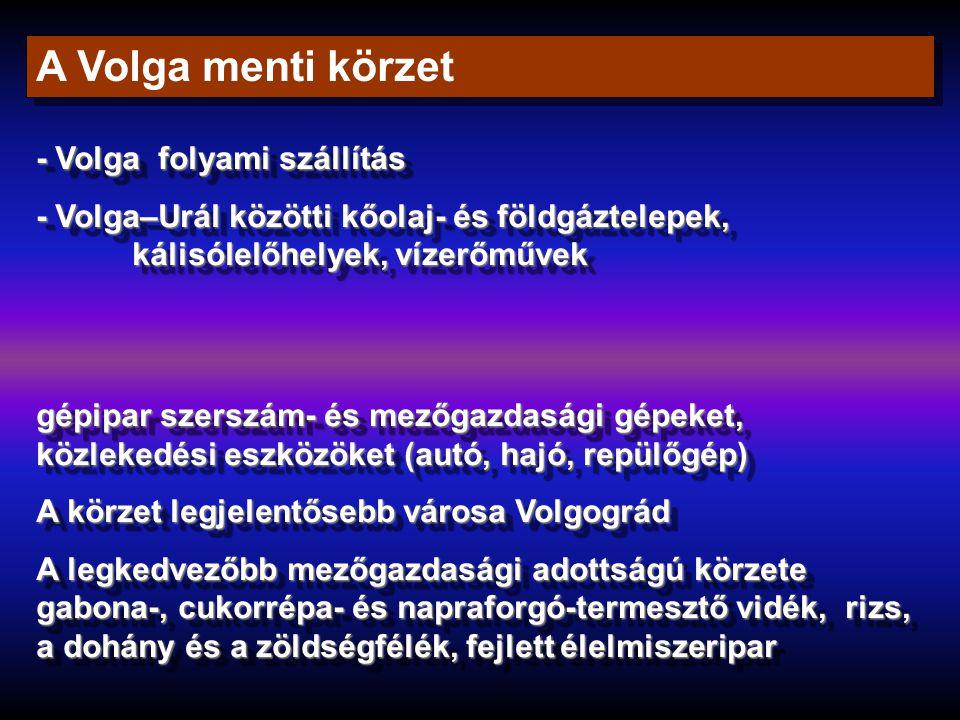 A Volga menti körzet - Volga folyami szállítás - Volga–Urál közötti kőolaj- és földgáztelepek, kálisólelőhelyek, vízerőművek - Volga folyami szállítás