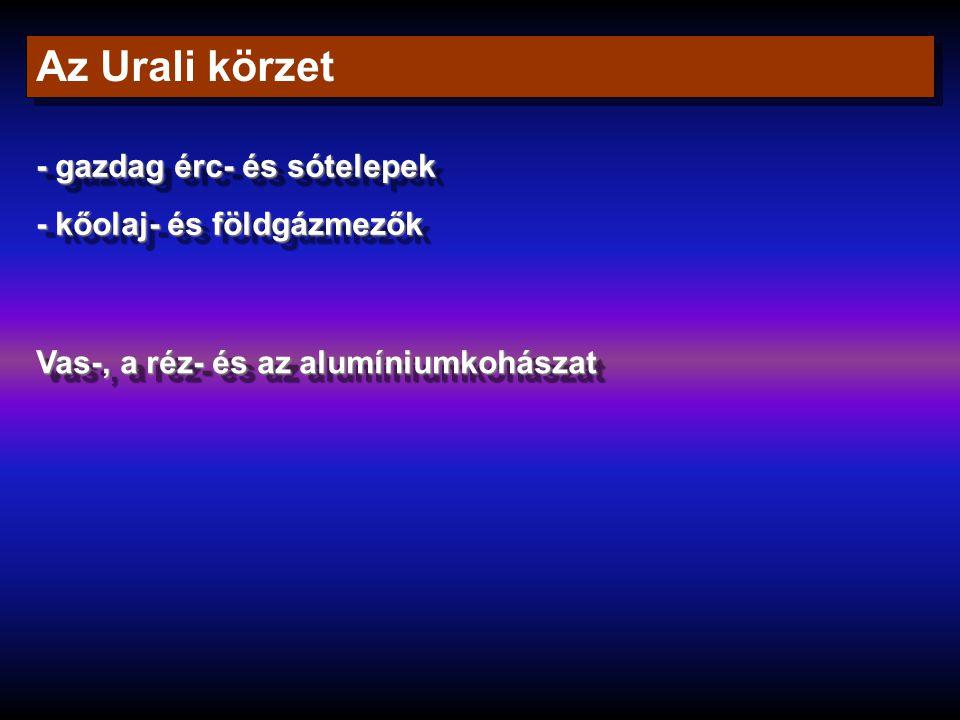 Az Urali körzet - gazdag érc- és sótelepek - kőolaj- és földgázmezők - gazdag érc- és sótelepek - kőolaj- és földgázmezők Vas-, a réz- és az alumínium