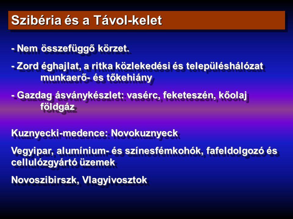 Szibéria és a Távol-kelet - Nem összefüggő körzet. - Zord éghajlat, a ritka közlekedési és településhálózat munkaerő- és tőkehiány - Gazdag ásványkész