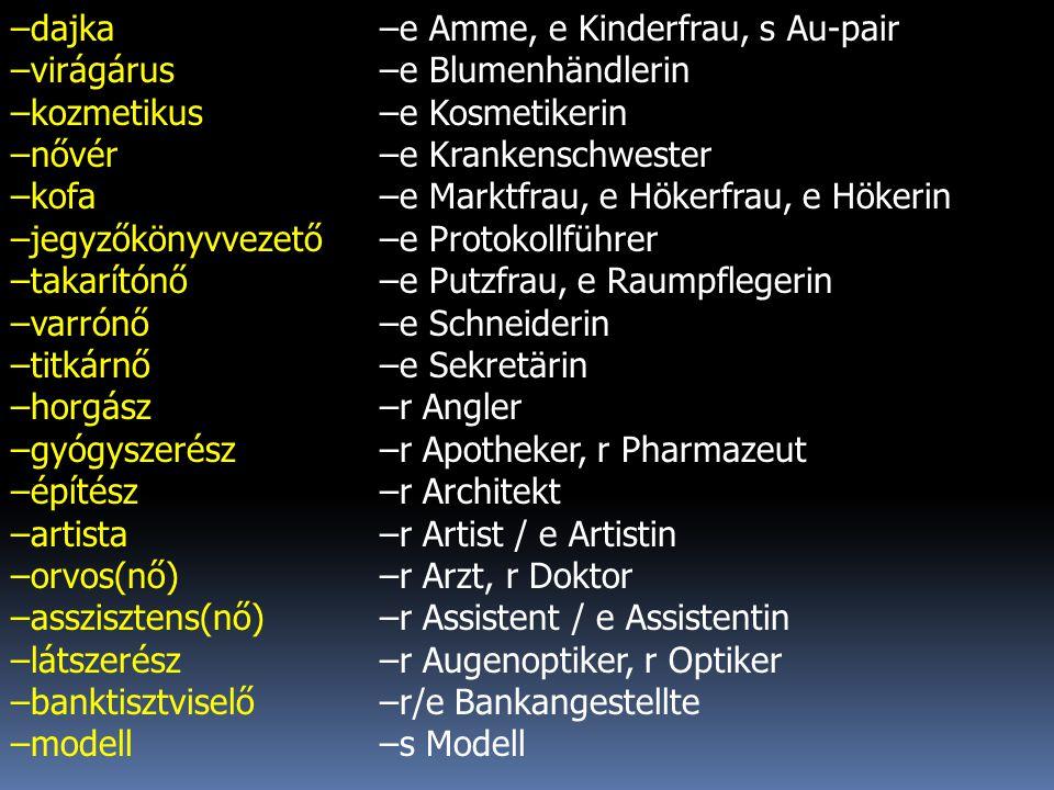 –dajka –virágárus –kozmetikus –nővér –kofa –jegyzőkönyvvezető –takarítónő –varrónő –titkárnő –horgász –gyógyszerész –építész –artista –orvos(nő) –asszisztens(nő) –látszerész –banktisztviselő –modell –e Amme, e Kinderfrau, s Au-pair –e Blumenhändlerin –e Kosmetikerin –e Krankenschwester –e Marktfrau, e Hökerfrau, e Hökerin –e Protokollführer –e Putzfrau, e Raumpflegerin –e Schneiderin –e Sekretärin –r Angler –r Apotheker, r Pharmazeut –r Architekt –r Artist / e Artistin –r Arzt, r Doktor –r Assistent / e Assistentin –r Augenoptiker, r Optiker –r/e Bankangestellte –s Modell
