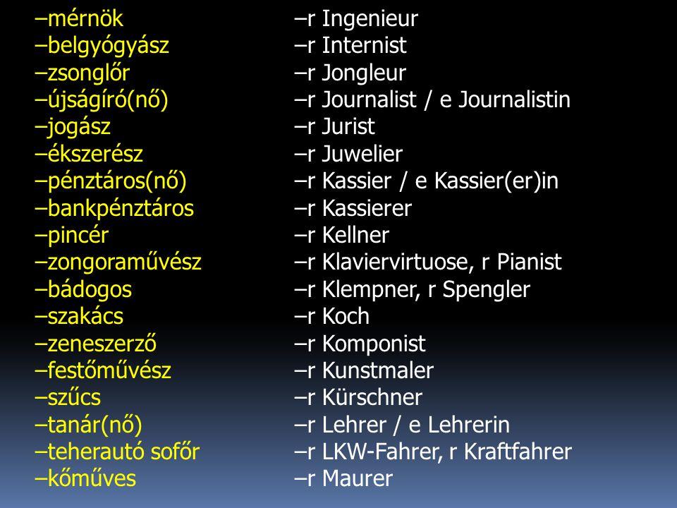 –miniszter –miniszterelnök –mixer –műsorvezető(nő) –szerelő –közjegyző –pap –lovász –portás –fényképész –politikus –rendőr(nő) –kárpitos –producer –rabbi –ügyvéd –rendező –nyugdíjas –r Minister –r Ministerpräsident –r Mixer –r Moderator / e Moderatorin –r Monteur –r Notar –r Pfarrer –r Pferdeknecht, r Roßknecht –r Pförtner –r Photograph –r Politiker –r Polizist / e Polizistin –r Polsterer –r Produzer –r Rabbiner –r Rechtsanwalt –r Regisseur –r Rentner / e Rentnerin