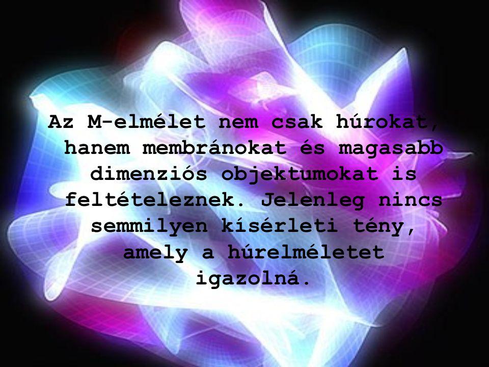 Az M-elmélet nem csak húrokat, hanem membránokat és magasabb dimenziós objektumokat is feltételeznek. Jelenleg nincs semmilyen kísérleti tény, amely a