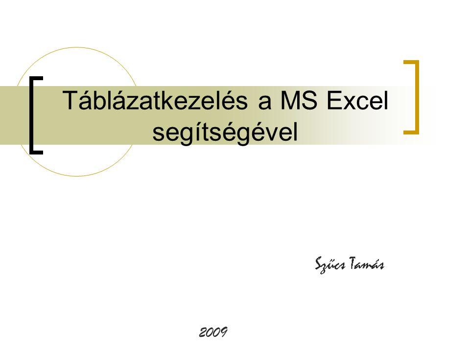 Táblázatkezelés a MS Excel segítségével 2009