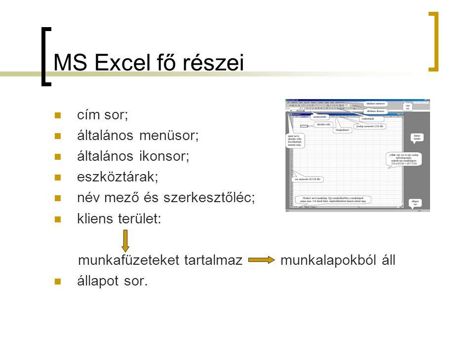 MS Excel fő részei cím sor; általános menüsor; általános ikonsor; eszköztárak; név mező és szerkesztőléc; kliens terület: munkafüzeteket tartalmaz mun