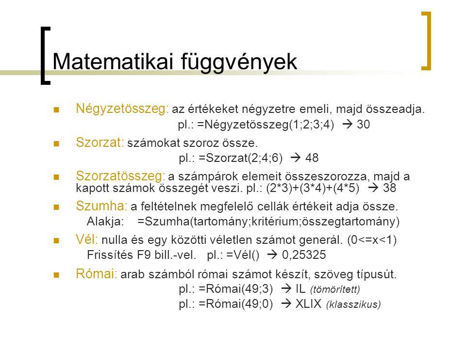 Matematikai függvények Négyzetösszeg: az értékeket négyzetre emeli, majd összeadja. pl.: =Négyzetösszeg(1;2;3;4)  30 Szorzat: számokat szoroz össze.