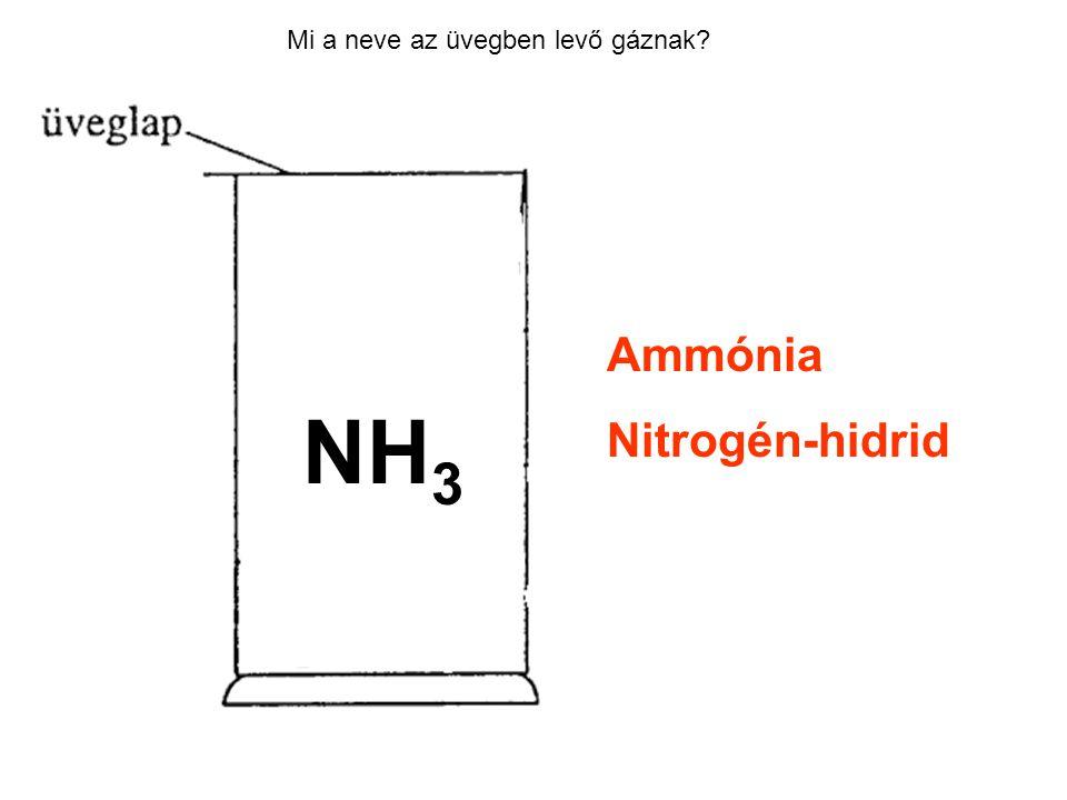 Mi a neve az üvegben levő gáznak? Ammónia Nitrogén-hidrid NH 3