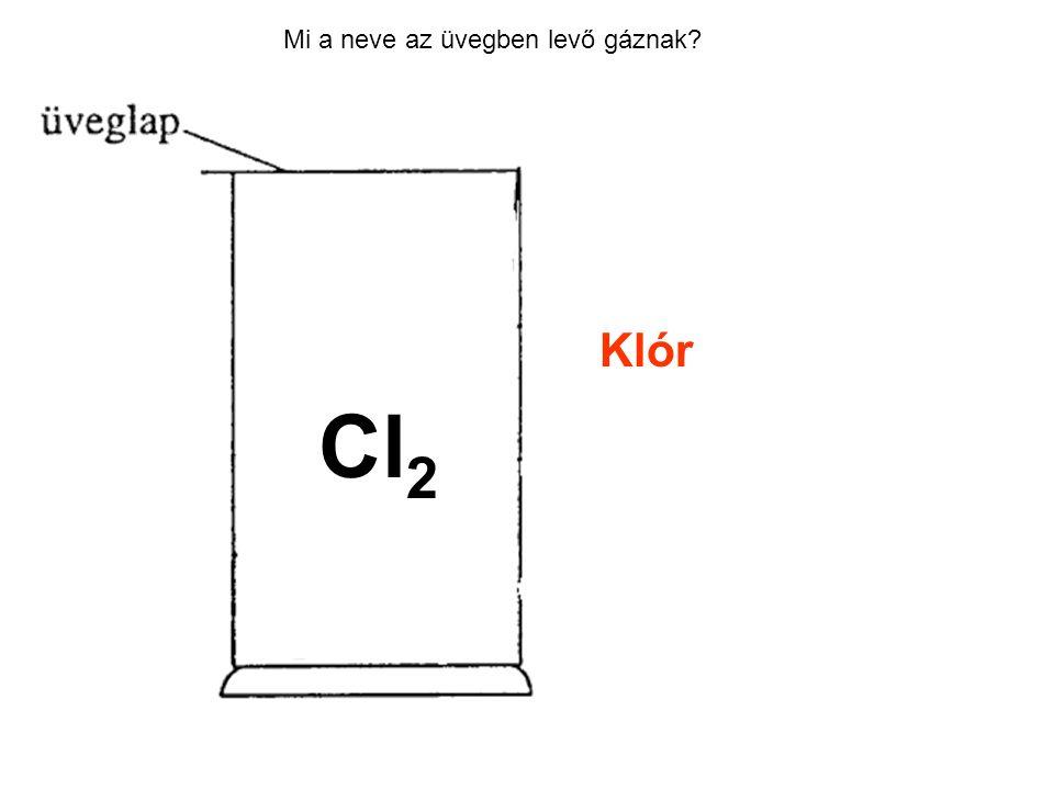 Mi a neve az üvegben levő gáznak? Klór Cl 2