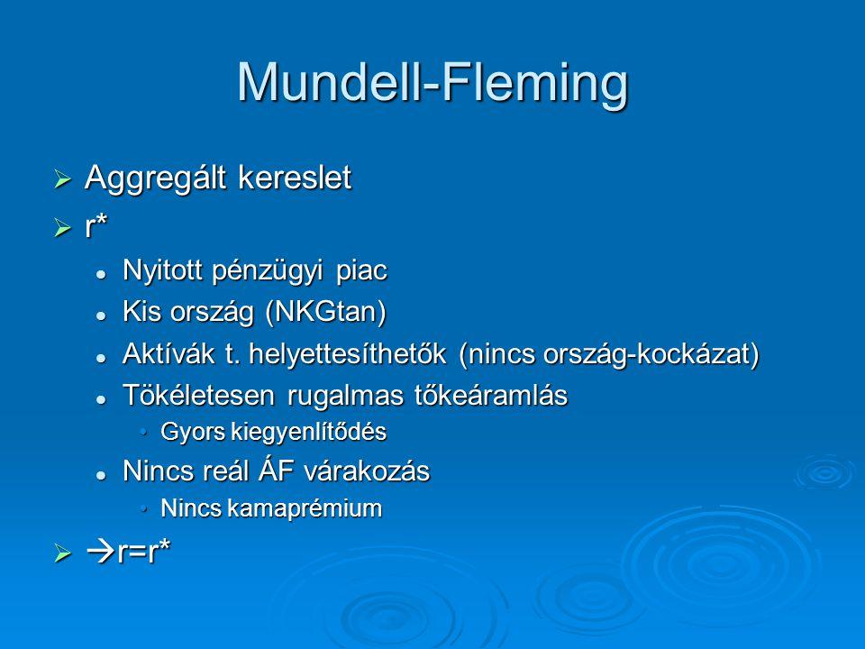 Mundell-Fleming  Aggregált kereslet  r* Nyitott pénzügyi piac Nyitott pénzügyi piac Kis ország (NKGtan) Kis ország (NKGtan) Aktívák t. helyettesíthe