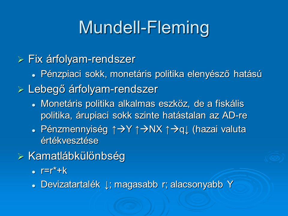 Mundell-Fleming  Fix árfolyam-rendszer Pénzpiaci sokk, monetáris politika elenyésző hatású Pénzpiaci sokk, monetáris politika elenyésző hatású  Lebe