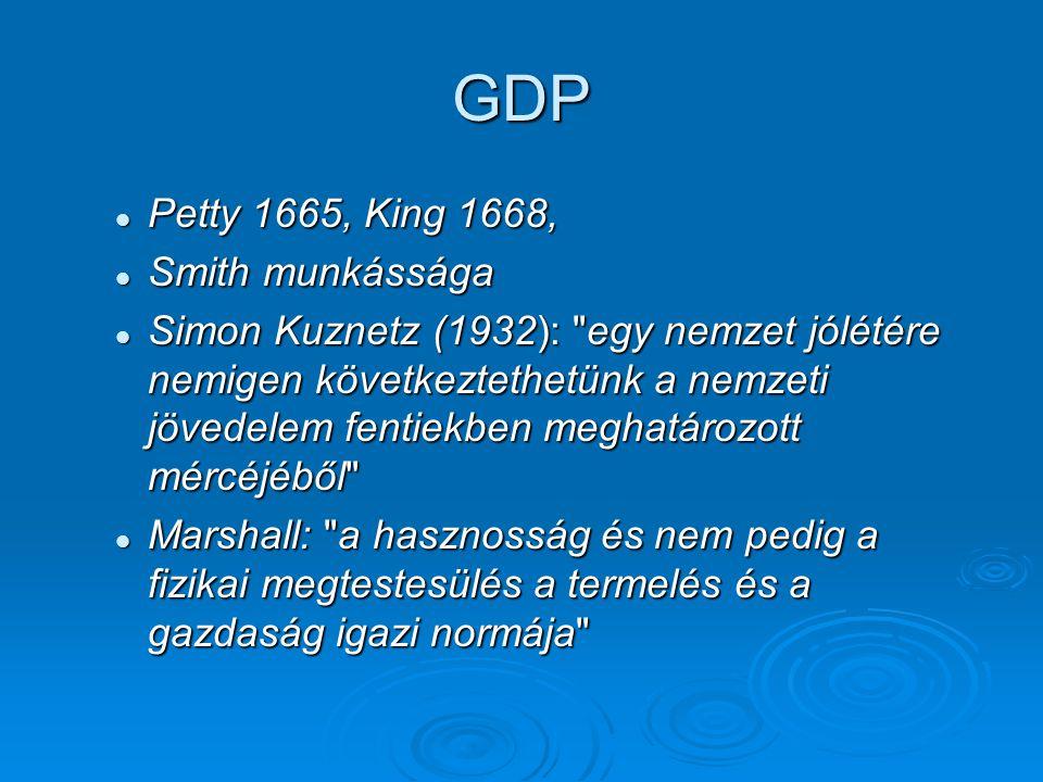 GDP Petty 1665, King 1668, Petty 1665, King 1668, Smith munkássága Smith munkássága Simon Kuznetz (1932): egy nemzet jólétére nemigen következtethetünk a nemzeti jövedelem fentiekben meghatározott mércéjéből Simon Kuznetz (1932): egy nemzet jólétére nemigen következtethetünk a nemzeti jövedelem fentiekben meghatározott mércéjéből Marshall: a hasznosság és nem pedig a fizikai megtestesülés a termelés és a gazdaság igazi normája Marshall: a hasznosság és nem pedig a fizikai megtestesülés a termelés és a gazdaság igazi normája
