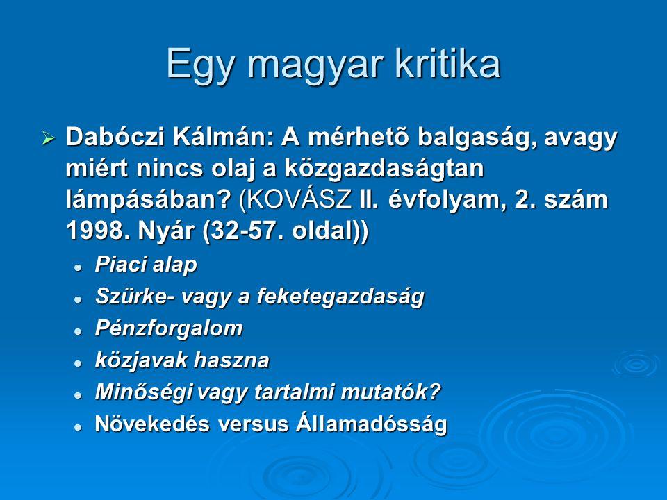 Egy magyar kritika  Dabóczi Kálmán: A mérhetõ balgaság, avagy miért nincs olaj a közgazdaságtan lámpásában.