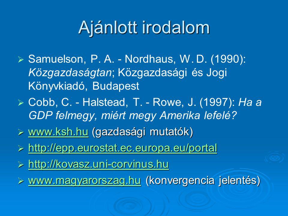 Ajánlott irodalom   Samuelson, P.A. - Nordhaus, W.