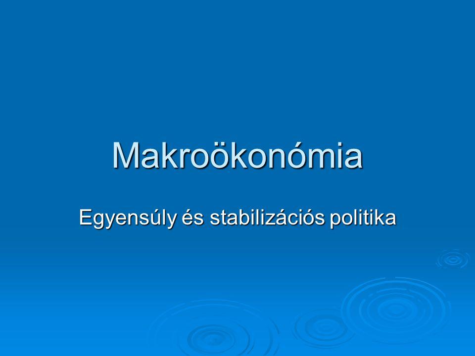 Makroökonómia Egyensúly és stabilizációs politika