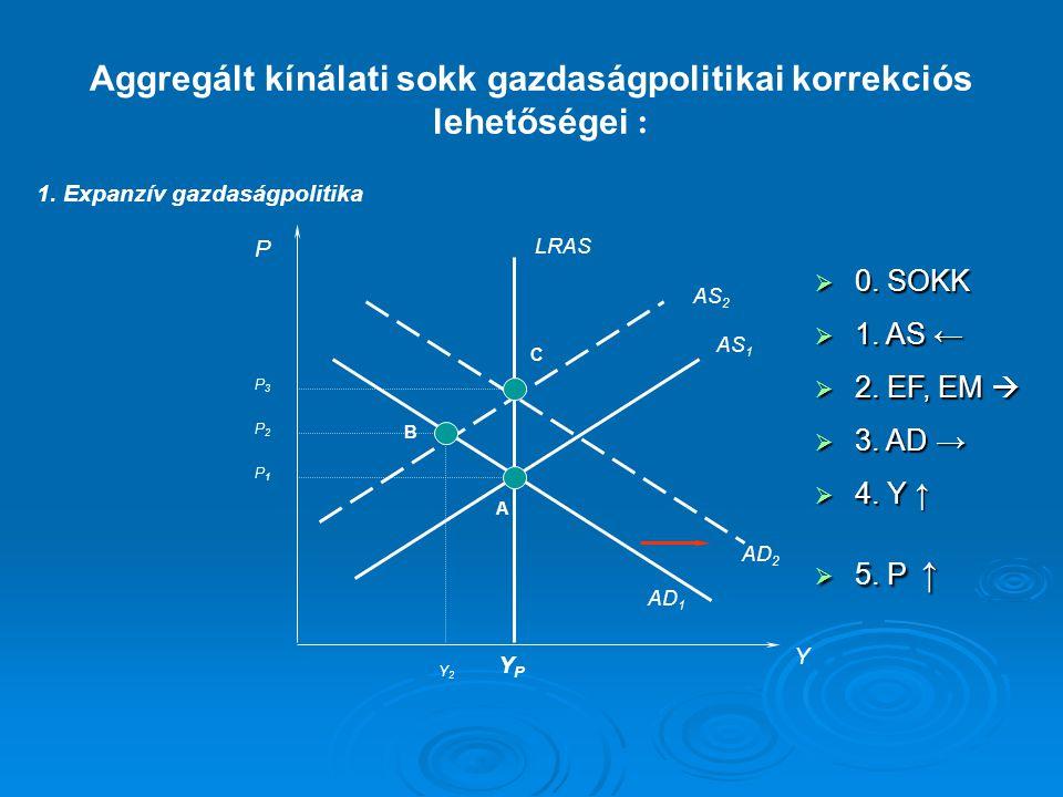 : 1. Expanzív gazdaságpolitika P Y LRAS AS 1 AD 1 YPYP AS 2 AD 2 A B C P1P1 P2P2 P3P3 Y2Y2 Aggregált kínálati sokk gazdaságpolitikai korrekciós lehető