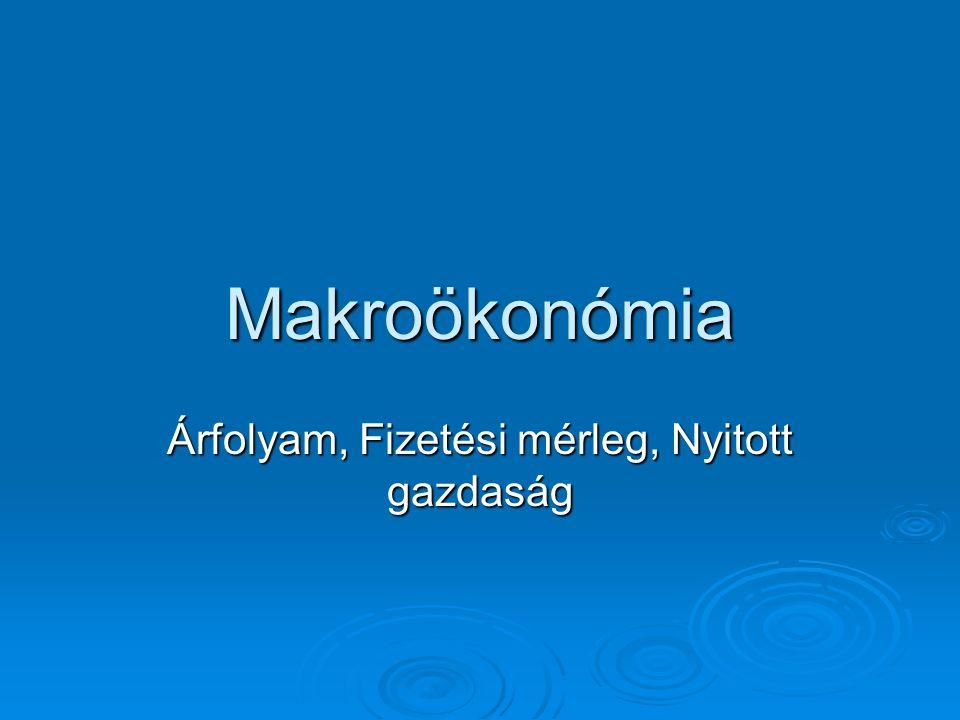 Makroökonómia Árfolyam, Fizetési mérleg, Nyitott gazdaság