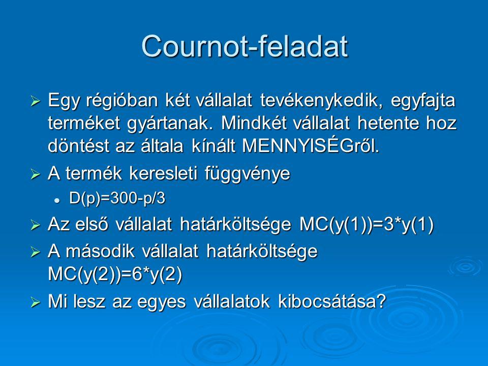 Cournot-feladat  Egy régióban két vállalat tevékenykedik, egyfajta terméket gyártanak. Mindkét vállalat hetente hoz döntést az általa kínált MENNYISÉ