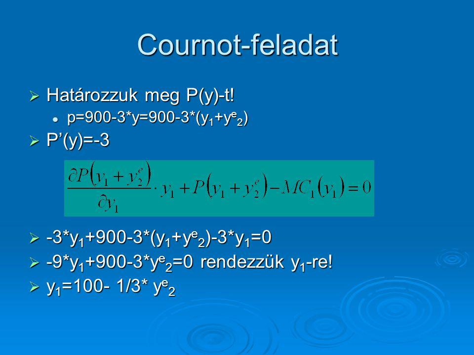 Cournot-feladat  Határozzuk meg P(y)-t! p=900-3*y=900-3*(y 1 +y e 2 ) p=900-3*y=900-3*(y 1 +y e 2 )  P'(y)=-3  -3*y 1 +900-3*(y 1 +y e 2 )-3*y 1 =0