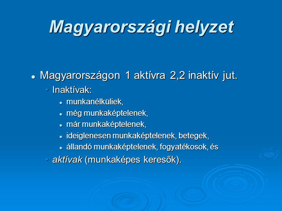 Magyarországi helyzet Magyarországon 1 aktívra 2,2 inaktív jut. Magyarországon 1 aktívra 2,2 inaktív jut. Inaktívak:Inaktívak: munkanélküliek, munkané