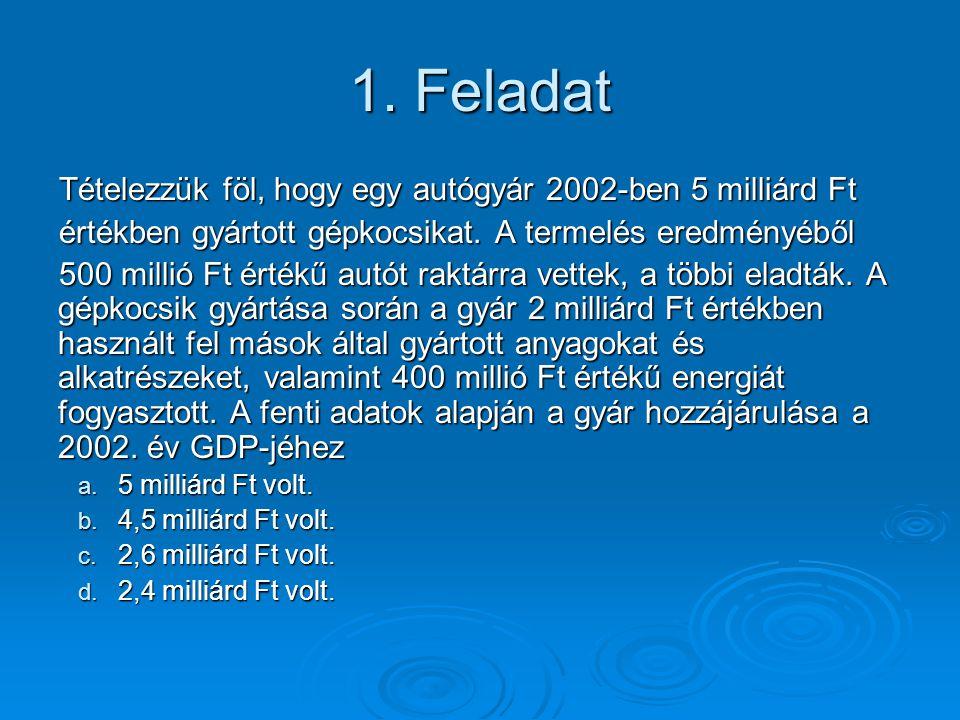 1.Feladat Tételezzük föl, hogy egy autógyár 2002-ben 5 milliárd Ft értékben gyártott gépkocsikat.