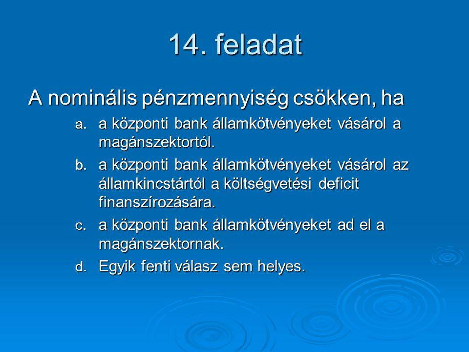 14.feladat A nominális pénzmennyiség csökken, ha a.