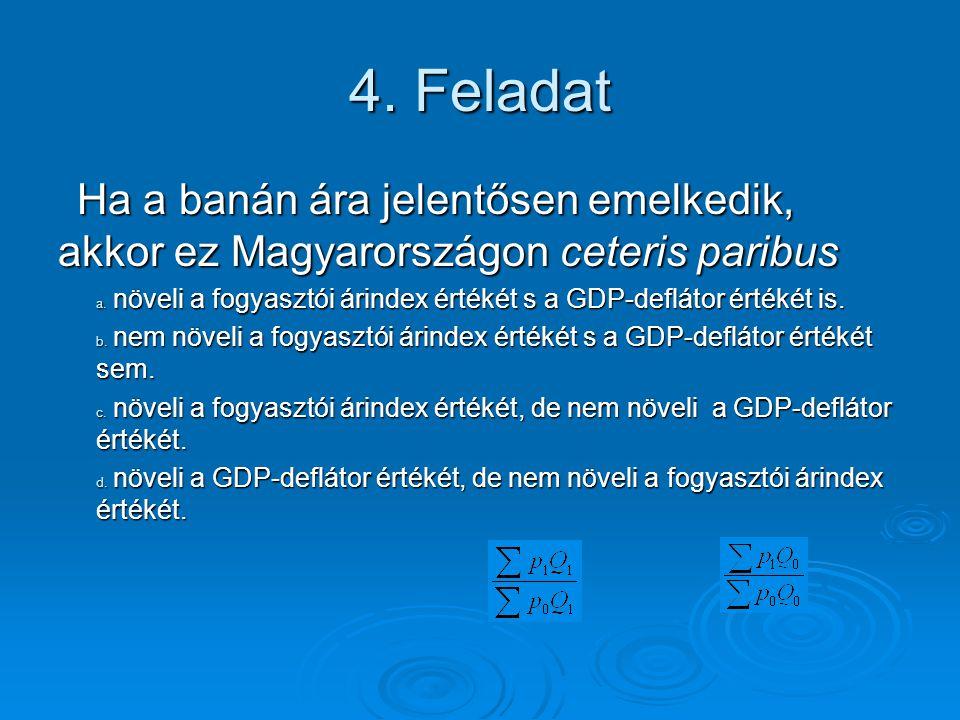 4.Feladat Ha a banán ára jelentősen emelkedik, akkor ez Magyarországon ceteris paribus a.