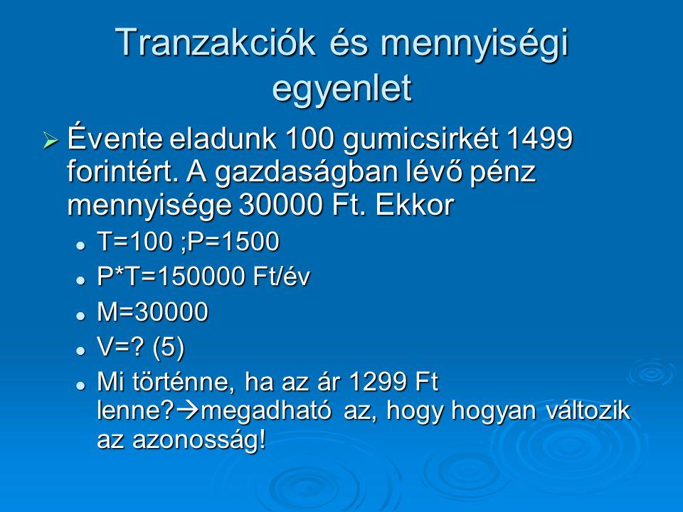 Tranzakciók és mennyiségi egyenlet  Évente eladunk 100 gumicsirkét 1499 forintért. A gazdaságban lévő pénz mennyisége 30000 Ft. Ekkor T=100 ;P=1500 T