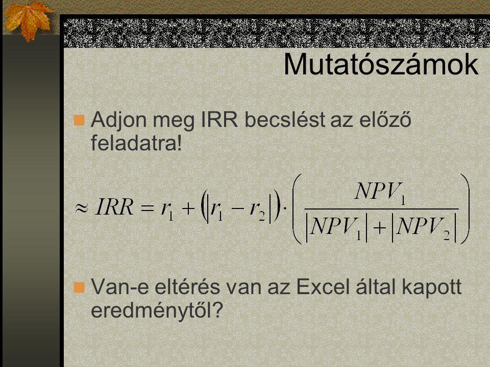 Mutatószámok Dinamikus IRR Megtérülési ráta szabály Belső Megtérülési Ráta =BMR() –Iteráció –Vektor Első eleme negatív, ezután csak pozitív értékek.