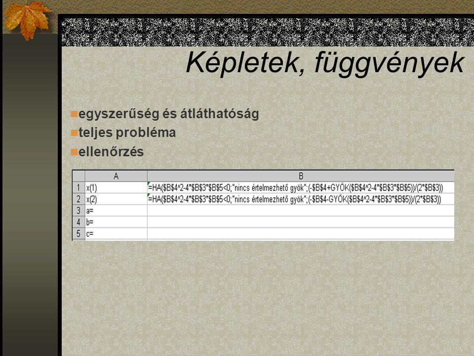 Képletek, függvények Jelenítse meg a másodfokú egyenlet megoldóképletét Excelben.