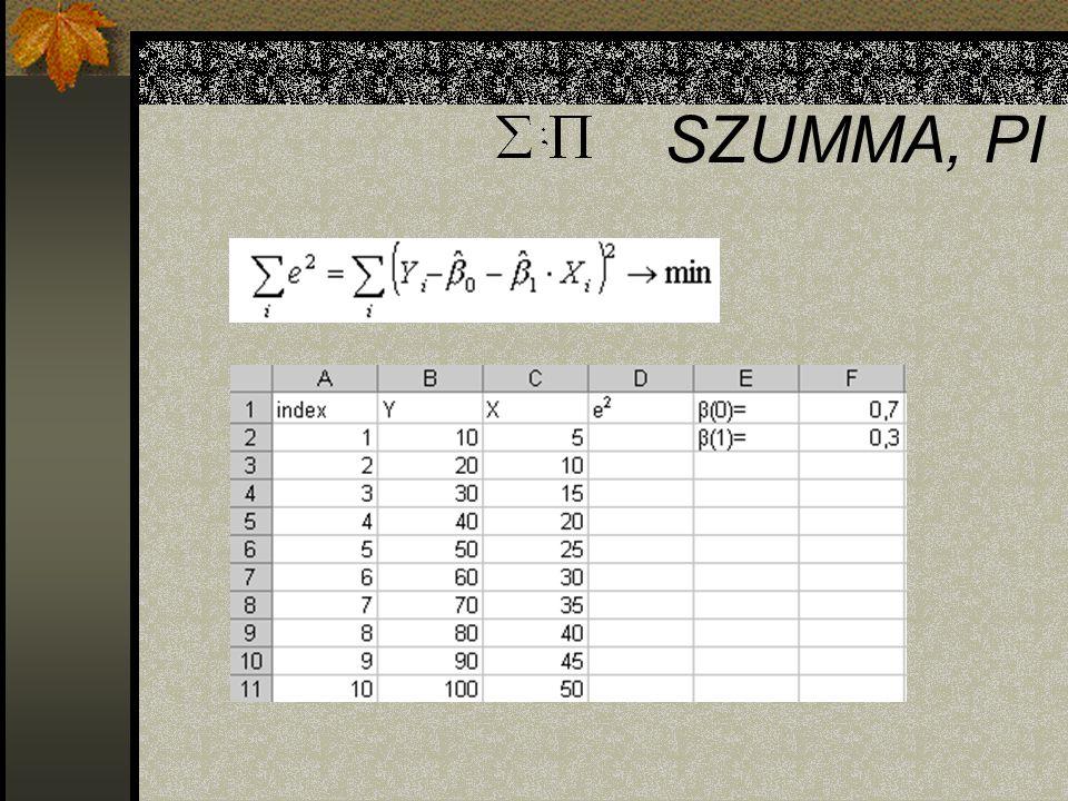 SZUMMA, PI A =szum() függvény segítségével kiszámítható az összefüggés. Ehhez ismerni kell az egyes X értékeket a megfelelő sorrendben.