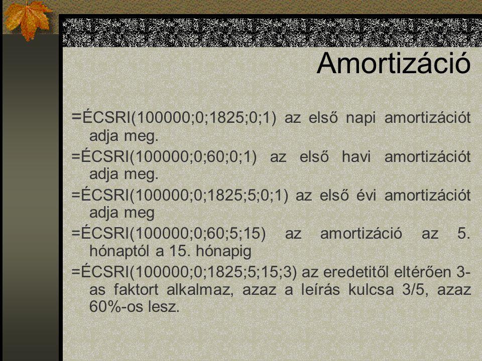 Amortizáció = ÉCSRI(100000;0;1825;0;1) az első napi amortizációt adja meg. =ÉCSRI(100000;0;60;0;1) az első havi amortizációt adja meg. =ÉCSRI(100000;0
