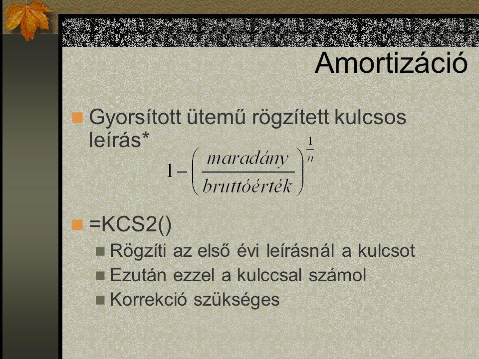 Amortizáció Gyorsított ütemű rögzített kulcsos leírás* =KCS2() Rögzíti az első évi leírásnál a kulcsot Ezután ezzel a kulccsal számol Korrekció szüksé