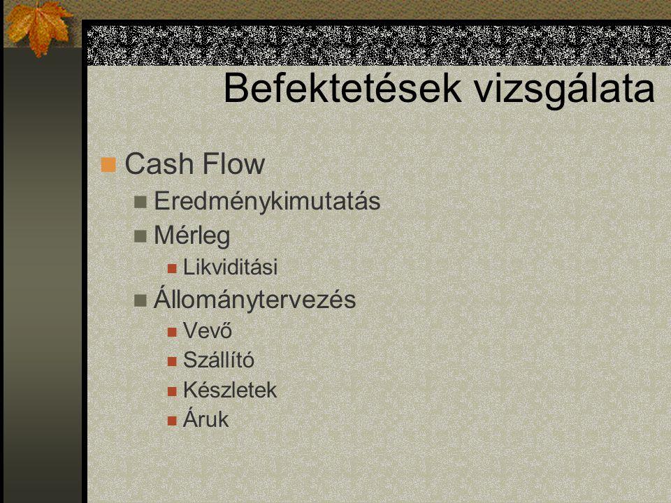 Befektetések vizsgálata Cash Flow Eredménykimutatás Mérleg Likviditási Állománytervezés Vevő Szállító Készletek Áruk