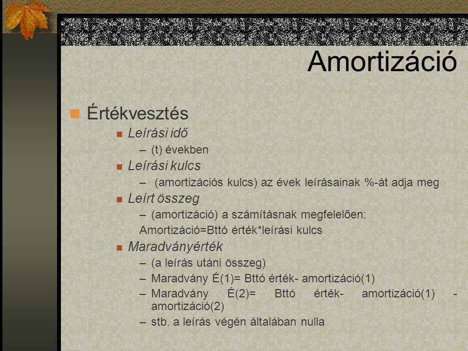 Amortizáció Értékvesztés Leírási idő –(t) években Leírási kulcs – (amortizációs kulcs) az évek leírásainak %-át adja meg Leírt összeg –(amortizáció) a