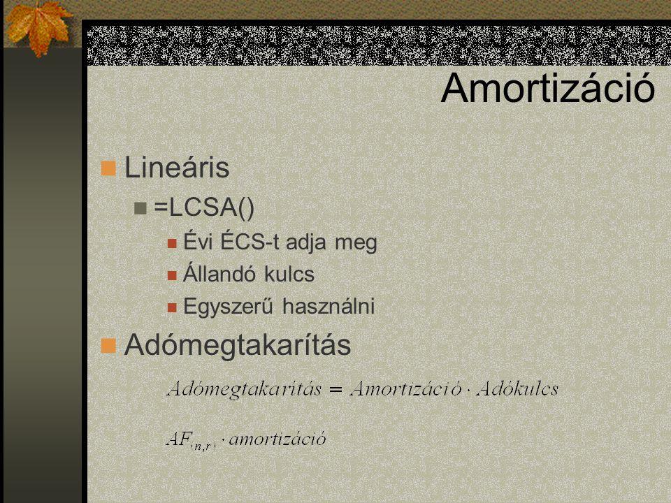 Amortizáció Lineáris =LCSA() Évi ÉCS-t adja meg Állandó kulcs Egyszerű használni Adómegtakarítás