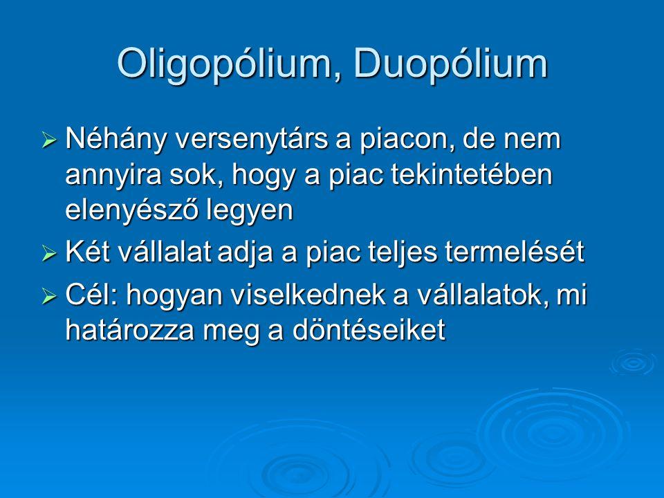 Modellek  Cournot-egyensúly Antoine Augustin Cournot 1801-1877 francia közgazdász, matematikus, filozófus Antoine Augustin Cournot 1801-1877 francia közgazdász, matematikus, filozófus Előre kell látni a kibocsátási döntést Előre kell látni a kibocsátási döntést Szimultán mennyiségiSzimultán mennyiségi  Stackelberg-magatartás Heinrich Freiherr von Stackelberg Heinrich Freiherr von Stackelberg 1905-1946 német közgazdász (játékelmélet, termeléselmélet) A vállalatok vezető-követő szerepet játszanak a döntések során   Bertrand-egyensúly Joseph Louis François Bertrand 1822-1900 francia matematikus A duopolista vállalatok árat határoznak meg a mennyiségi döntést a piacra bízzák.