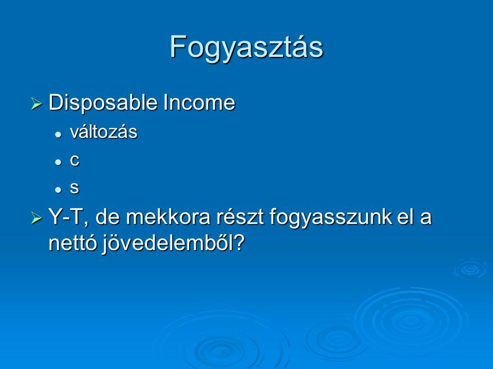 Fogyasztás  Disposable Income változás változás c s  Y-T, de mekkora részt fogyasszunk el a nettó jövedelemből?