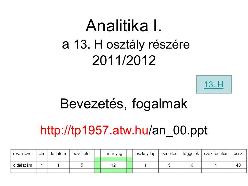 Analitika I. a 13. H osztály részére 2011/2012 Bevezetés, fogalmak http://tp1957.atw.hu/an_00.ppt rész nevecímtartalombevezetéstananyagosztály-lapismé