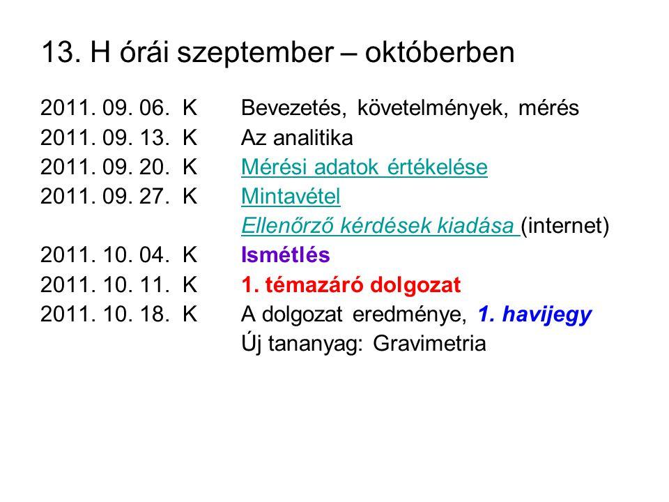 13. H órái szeptember – októberben 2011. 09. 06. KBevezetés, követelmények, mérés 2011. 09. 13. KAz analitika 2011. 09. 20. KMérési adatok értékeléseM