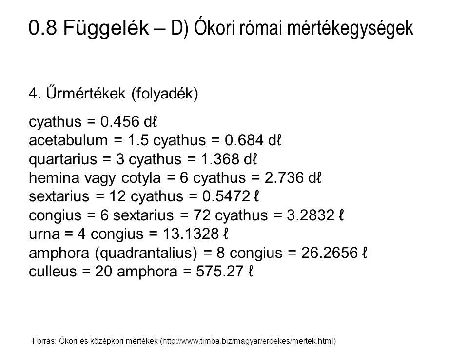 0.8 Függelék – D) Ókori római mértékegységek Forrás: Ókori és középkori mértékek (http://www.timba.biz/magyar/erdekes/mertek.html) 4. Űrmértékek (foly