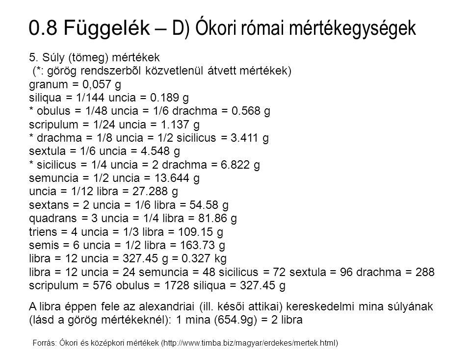 0.8 Függelék – D) Ókori római mértékegységek Forrás: Ókori és középkori mértékek (http://www.timba.biz/magyar/erdekes/mertek.html) 5. Súly (tömeg) mér